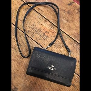 Authentic leather Coach wallet cross body strap